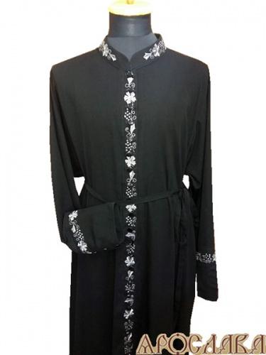АРТ1152. Подрясник-платье основа русская, ворот греческий, 33 пуговицы, ткань вискоза. Вышитый рис Виноград №9:ворот, планка, манжеты.