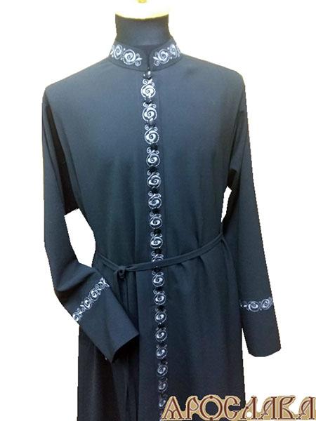 АРТ1154. Подрясник-платье основа русская, ворот греческий,33 пуговицы, ткань креп-шелк. Вышитый рис №14: ворот, планка, манжеты.