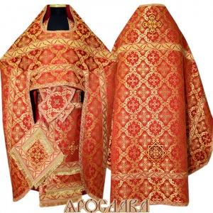 АРТ115.Риза красная парча Никольский, отделка цветной галун (красный с золотом рис.Листок).