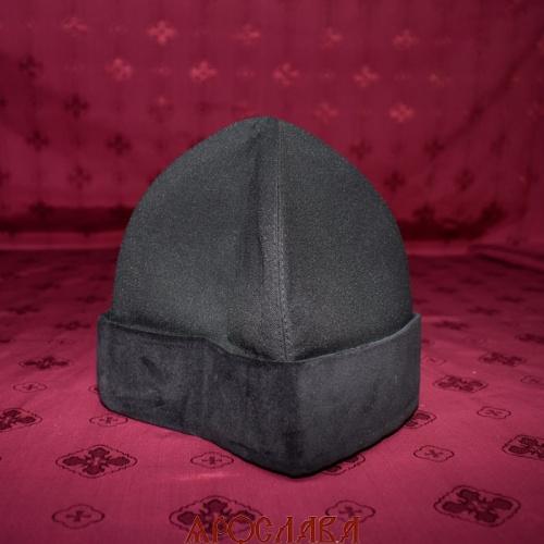 АРТ1169. Скуфия русская, демисезонная. Ткань черный габардин. Отворот черный бархат. Подклад хлопок.