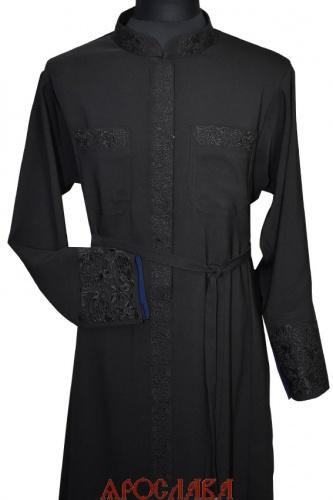 АРТ1170. Подрясник-платье основа греческая, ткань плотная костюмная. Кант верх манжета. Вышивка широкий рисунок Виноград: ворот, манжет, карманы, планка.Застежка молния, кнопки. Изнанка манжета синего цвета