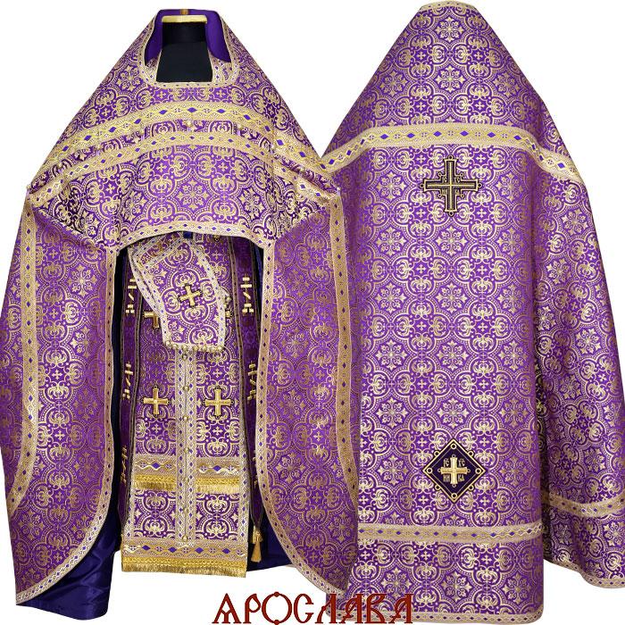 АРТ1178. Риза старообрядческая, парча Василия, отделка цветной галун (фиолетовый с золотом).