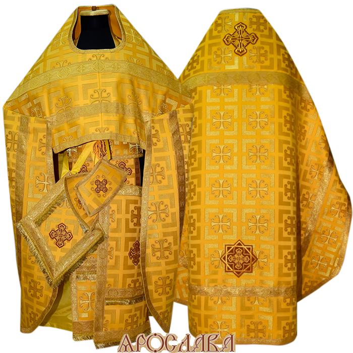 АРТ117.Риза парча Трехсвятителей, отделка цветной галун (цвет золото)