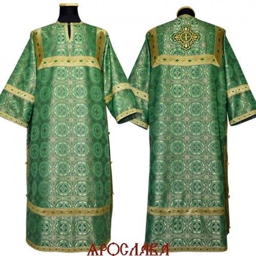 АРТ 1183. Стихарь зеленый шелк Коринф, отделка цветной галун (зеленый с золотом).