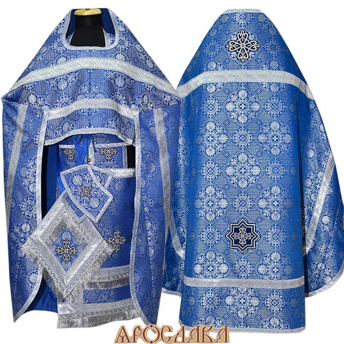 АРТ118. Риза синий шелк с серебром Почаевский,отделка цветной галун (синий с серебром)