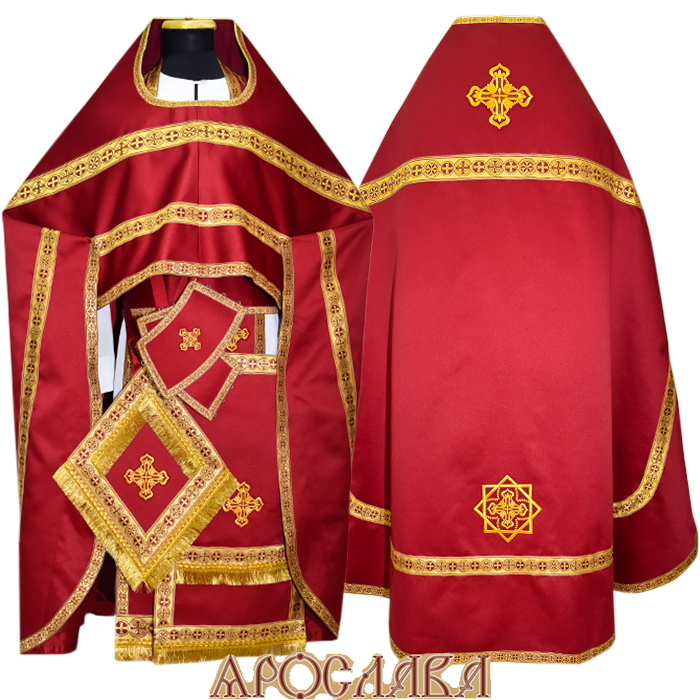 АРТ119.Риза бордовый однотонный атласный шелк, отделка цветной галун (золото с бордовым)