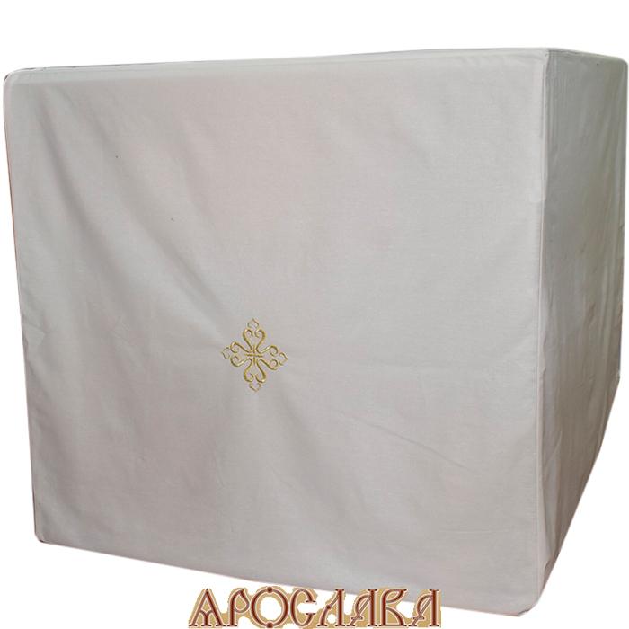 АРТ1205. Срочица на престол, ткань белая бязь, вышитый крест. На завязках с двух сторон.