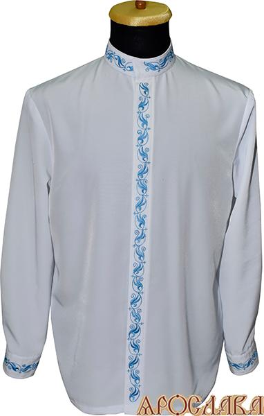 АРТ1213. Косоворотка белый мокрый шелк,потайная застежка. Ворот стойка. Вышивка голубым шелком: ворот, планка, манжеты.