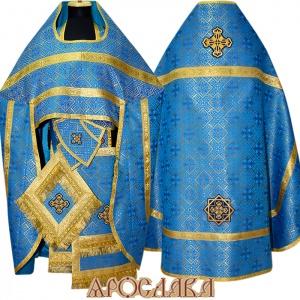 АРТ121. Риза голубой шелк Каменный цветок,обыденная отделка (галун цвет золото)