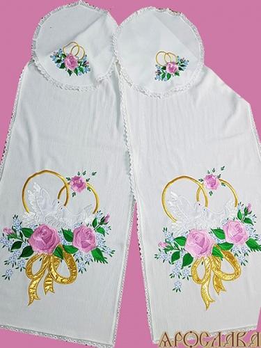 АРТ1224. Ручшик венчальный с вышивкой Голубка, ткань хлопок.