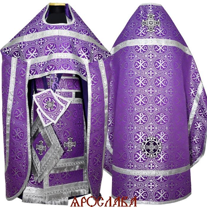 АРТ1232. Риза фиолетовая с серебром парча Альфа-Омега, обыденная отделка.