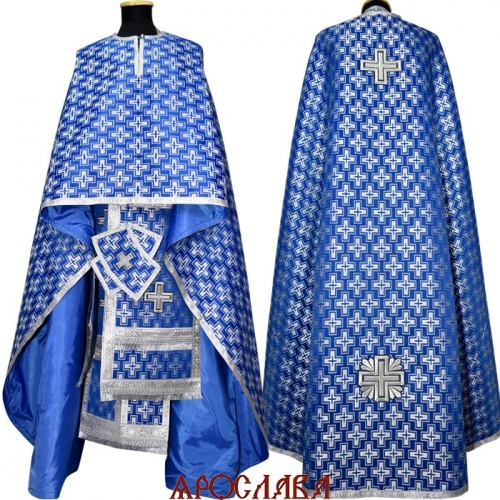 АРТ1237. Риза греческий крой, синий с серебром шелк Полтавский крест, обыденная отделка (цвет серебро).