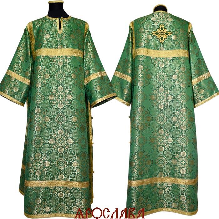 АРТ 1238. Стихарь зеленый шелк Карпатский, обыденная отделка (цвет золото).