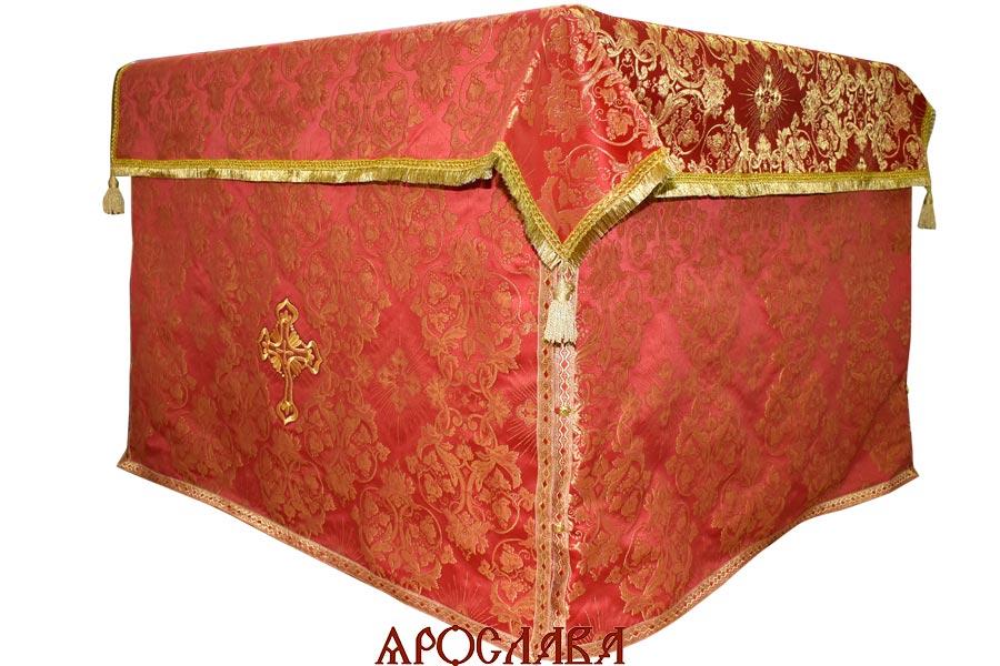 АРТ1241. Облачение на престол парча Слуцкий, отделка цветной галун.