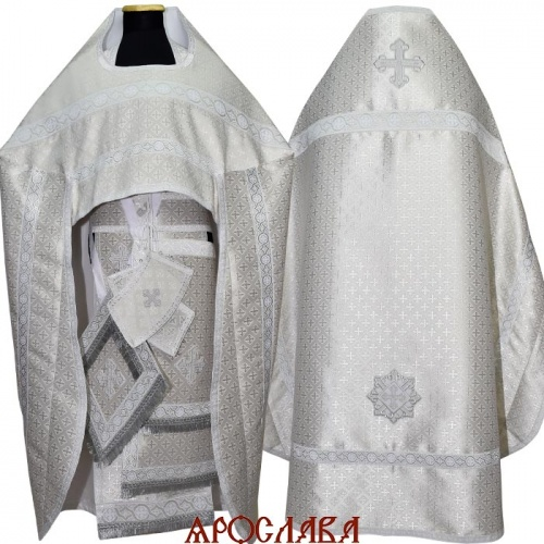 АКЦИЯ. АРТ1242. Риза белая с серебром парча Крещенская.