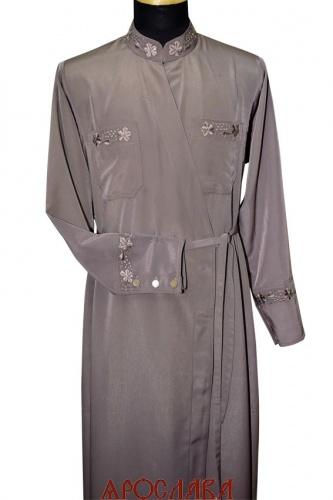 АРТ1245. Подрясник греческий. Ткань  мокрый шелк. Вышивка рис Виноград №9: ворот, карманы,манжеты.