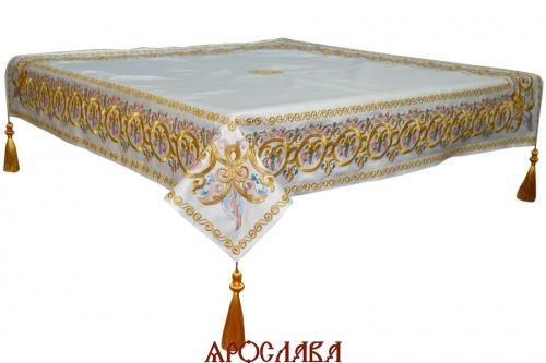 АРТ1246. Скатерть на престол, вышитая рис.Русский Афон, на подкладе, кисти с шариком, крест по центру.