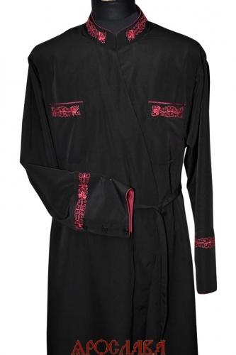 АРТ1247. Подрясник греческий. Ткань  мокрый шелк. Вышивка рис Виноград №13: ворот, карманы,манжеты. Кант в цвет вышивки: ворот, карманы, низ манжета. Изнанка ворота и манжета в цвет ткани.