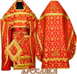 АРТ124. Риза красная шелк Терновый венец, обыденная отделка (галун цвет золото)