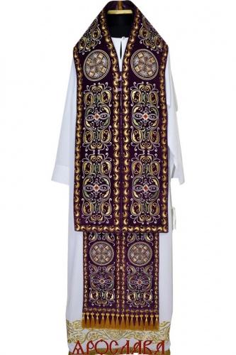 АРТ1252. Архиерейский требный набор вышитый рисунок Благозвонница. Ткань бархат.