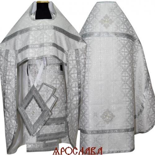 АРТ1256. Риза белая с серебром парча Перезвон, обыденная отделка.