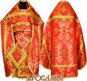 АРТ126. Риза красная шелк Слуцкий ,обыденная отделка (галун цвет золото)