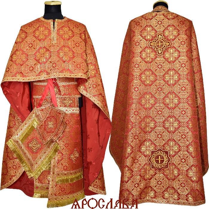 АРТ1272. Риза греческий крой, красная парча Покров, отделка цветной галун (красный с золотом).