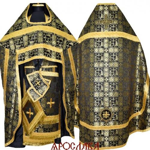 АРТ1274. Риза черная с золотом шелк Голгофа, отделка цветной галун (цвет золото).