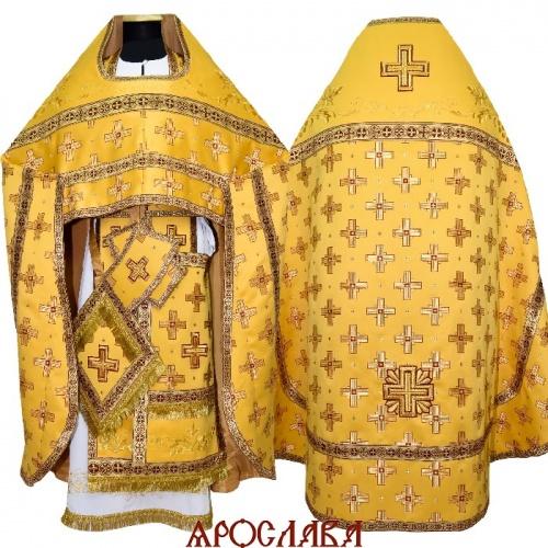 АРТ1276. Риза желтый шелк Святительский. Комбинированная с вышивкой рисунок Благородный: власяница, окошки епитрахили, низ набедренника.