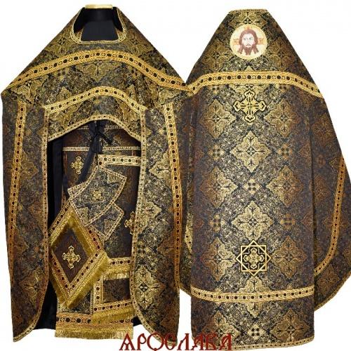 АРТ1277. Риза черная с золотом парча Виленский, отделка цветной галун (черный с золотом). На оплечье вышитая икона Спас Нерукотворный образ.