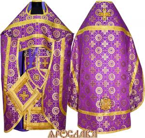 АРТ127. Риза фиолетовый с золотом шелк Мирликийский крест крупный, обыденная отделка (галун цвет золото)