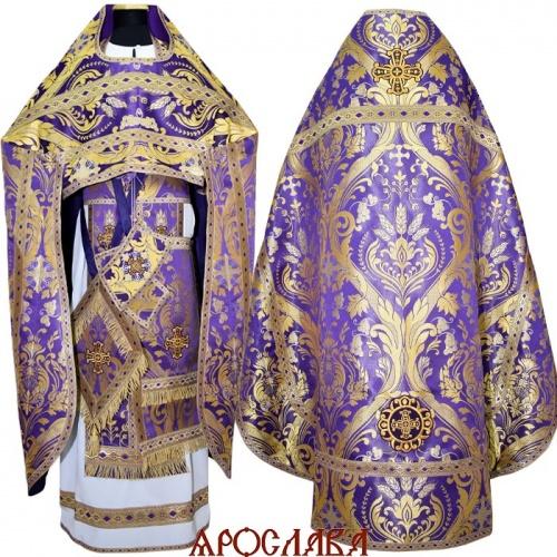 АРТ 1283. Риза фиолетовая, греческая парча Чаша изобилия, рисунок с увеличенным  рапортом, отделка цветной галун(фиолетовый с золотом), витая бахрома, кисть на палице.