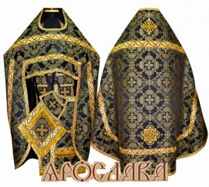 АРТ128. Риза черная парча Коломенская, отделка цветной галун (черный с золотом рис.Листок).
