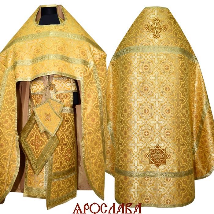 АРТ1290. Риза желтая шелк Златоуст, обыденная отделка (галун цвет золото)