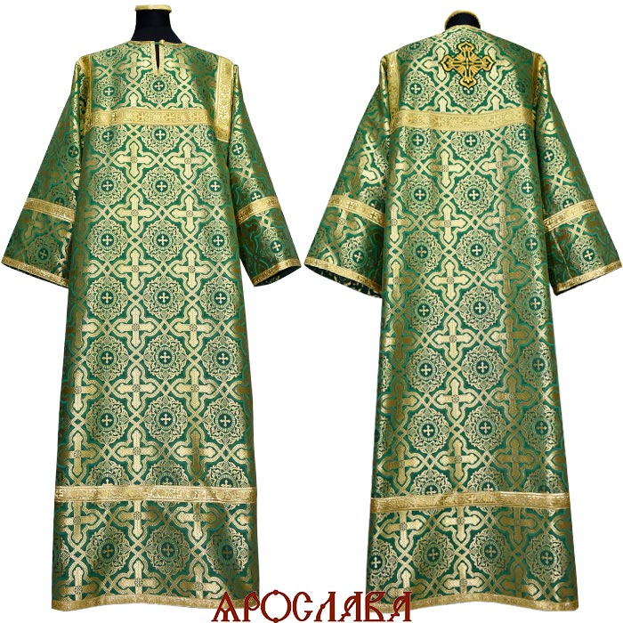 АРТ 1252. Стихарь зеленый шелк Златоуст, обыденная отделка (цвет золото).