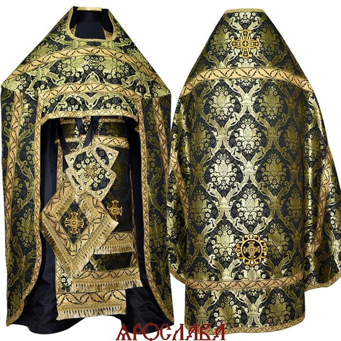АРТ1307. Риза черная с золотом шелк Корона, обыденная отделка (галун цвет золото).