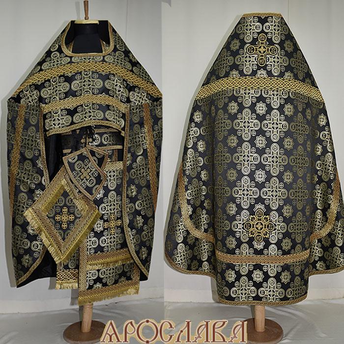 АРТ130.Риза черная с золотом шелк Вифлеем, отделка цветной галун (черный с золотом).