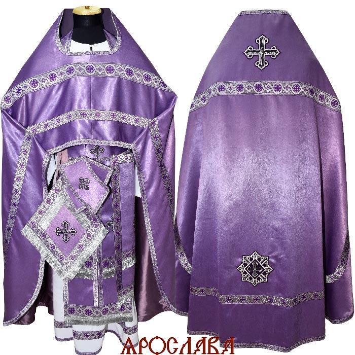 АРТ1315.Риза фиолетовая плотная ткань, отделка цветной галун (фиолетовый с серебром)