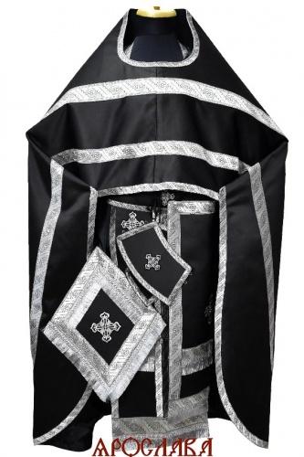 АРТ1316.Риза черный однотонный атласный шелк, отделка цветной галун (черный с серебром)