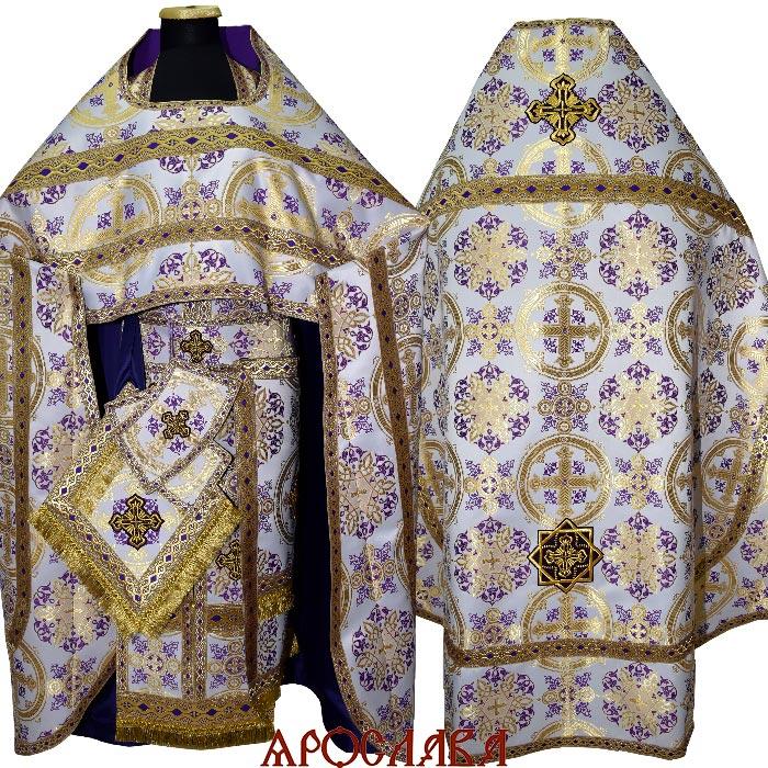 АРТ1317.Риза шелк Почаевский, отделка цветной галун (фиолетовый с золотом)