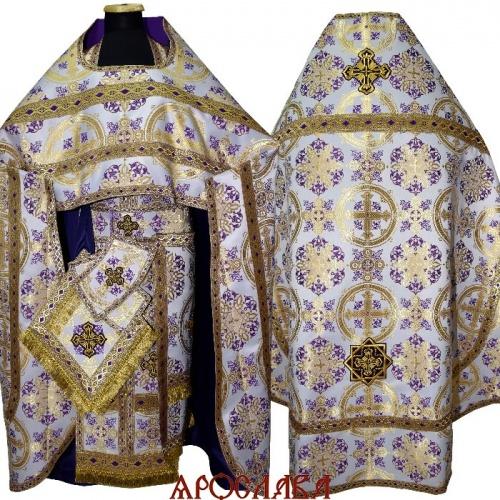 АРТ1317.Риза фиолетовая с золотом шелк Почаевский, отделка цветной галун (фиолетовый с золотом)