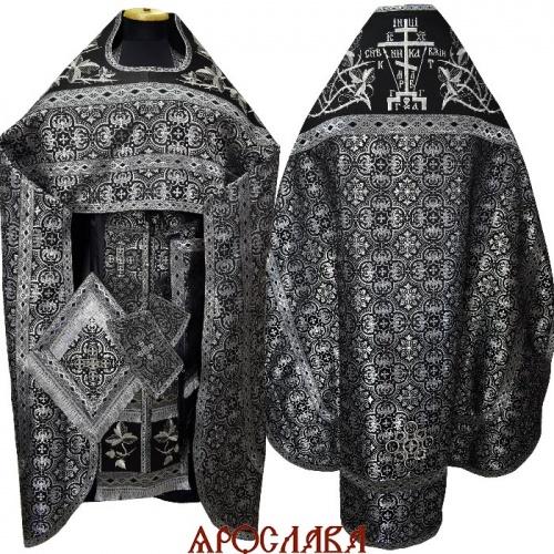 АРТ1322. Риза черный с серебром шелк Коринф. Комбинированная с вышивкой рисунок Терновый венец увеличенный: власяница, окошки епитрахили, низ набедренника.Вышитая Голгофа.