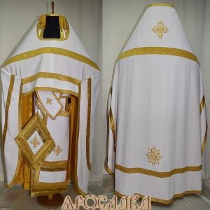 АРТ133.Риза белый лен, отделка цветной галун (цвет золото).Подклад хлопок с вискозой,с крестовым рисунком,охристого(желтого) цвета.