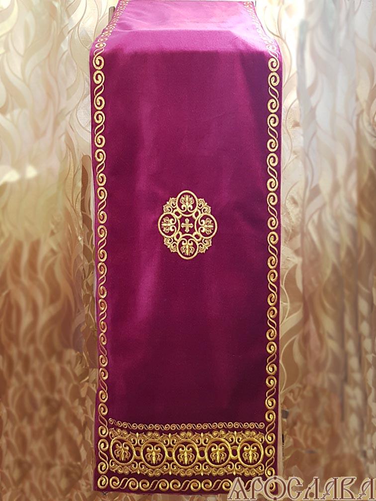 АРТ1345. Накидка на аналой с вышивкой рис.Русский Афон, вышитый галун. Размер: 1.8*0.45