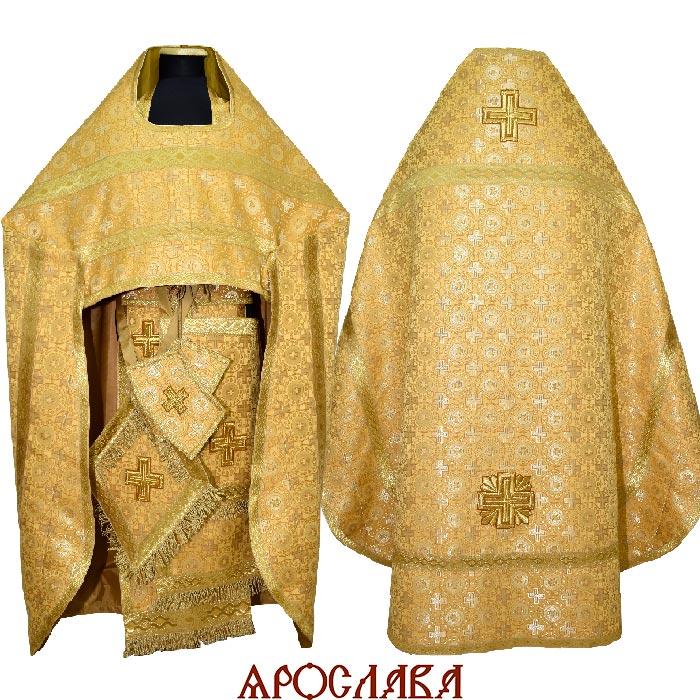 АКЦИЯ. АРТ1348. Риза желтая парча Мирликийский крест мелкий.