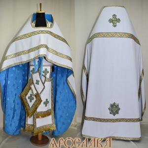 АРТ134.Риза белый японский хлопок, отделка цветной галун (цвет голубой с золотом рис.Листок).Подклад хлопок с вискозой,с крестовым рисунком,голубого цвета.