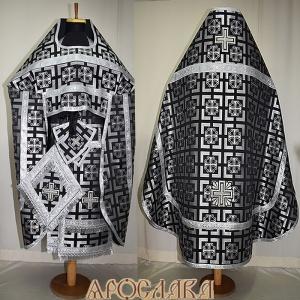 АРТ136. Риза черная шелк Трехсвятителей,обыденная отделка (галун цвет серебро).