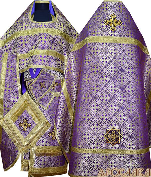 АРТ137. Риза фиолетовая шелк Каменный цветок,обыденная отделка (цвет золото).