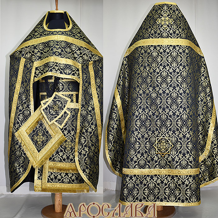 АРТ138.  Риза черная шелк Архангельский,обыденная отделка (цвет золото).