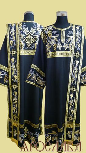 АРТ1399. Диаконское облачение с вышивкой рис.Плетеный: кокетка, низ рукава,низ  платья, орарь. Отделка цветной галун.